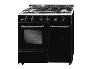 SVK9440GR - Cocina de 4 fuegos negro rústico con gas butano de Svan